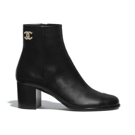 Calfskin Black Ankle Boots | CHANEL