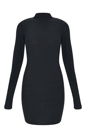 Black Rib Shoulder Pad Lettuce Cuff Bodycon Dress | PrettyLittleThing USA