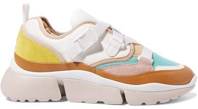 Sonnie Canvas, Mesh, Suede And Leather Sneakers - White