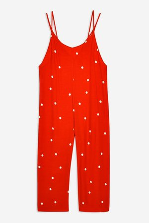 Strappy Spot Jumpsuit   Topshop red