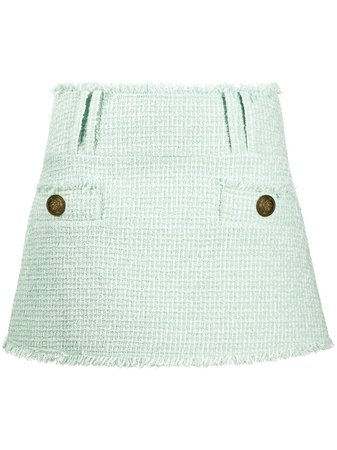 Balmain tweed mini skirt green UF14061C257 - Farfetch