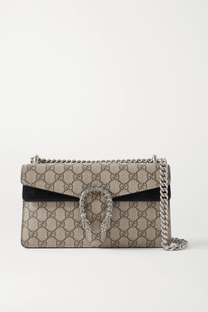 Beige Dionysus small embellished printed coated-canvas and suede shoulder bag | Gucci | NET-A-PORTER