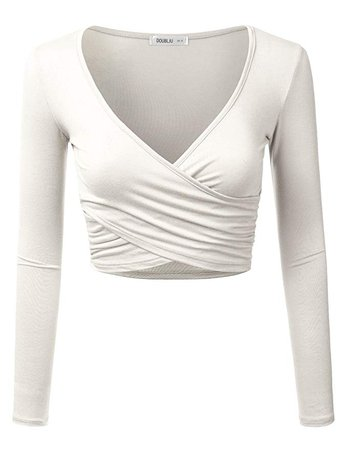 White Wrap Crop-Top (Long-Sleeve)
