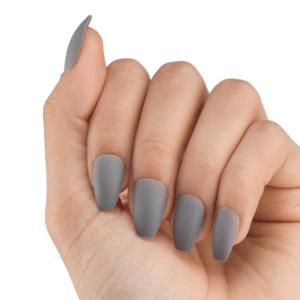 Marmalade Nails Nymeria | Grey Matte Coffin Press-on Nails