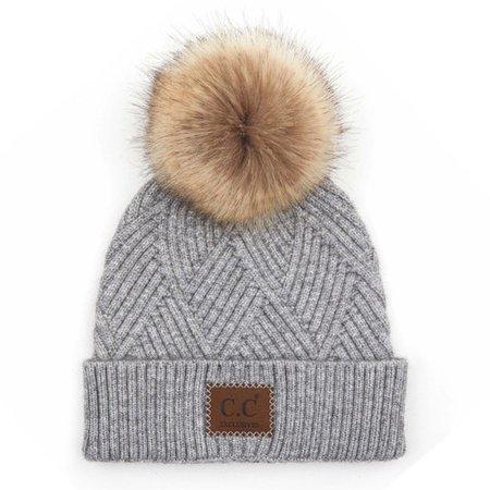 C.C Diagonal Knit Pom Pom Beanie - Light Grey - Trendy Threads Inc