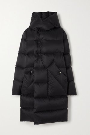 Hooded Quilted Shell Down Coat - Black