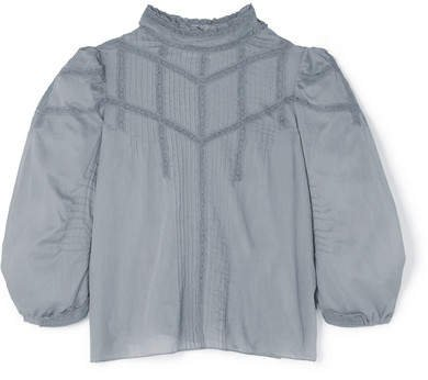 DÔEN - Albertine Lace-trimmed Pintucked Cotton-voile Blouse - Blue