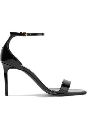 Saint Laurent | Amber patent-leather sandals | NET-A-PORTER.COM