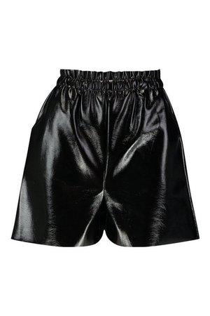 Paperbag Waist Vinyl Shorts | Boohoo