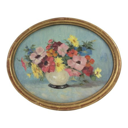 Oval Oil Floral Painting by A. Dandiran | Chairish