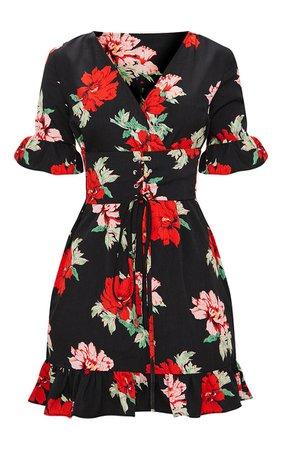 Black Corset Floral Swing Dress   PrettyLittleThing USA