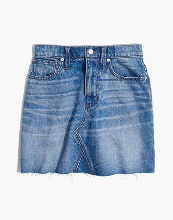 Rigid Denim A-Line Mini Skirt in Leandra Wash blue