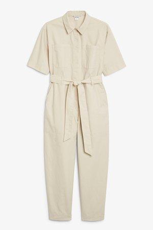 Utility jumpsuit - Light beige - Jumpsuits - Monki WW