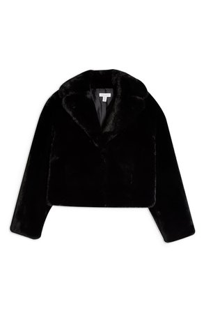 Topshop Faux Fur Crop Jacket black