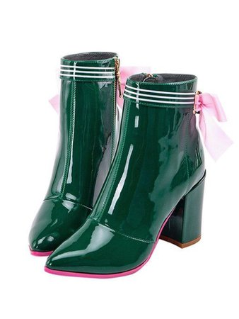 Dark green and pink ankle boots