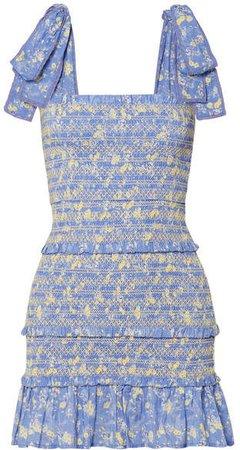 Belle Shirred Floral-print Cotton-voile Mini Dress - Light blue