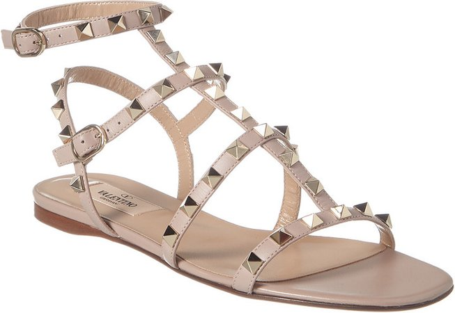 Rockstud Caged Leather Ankle Strap Sandal