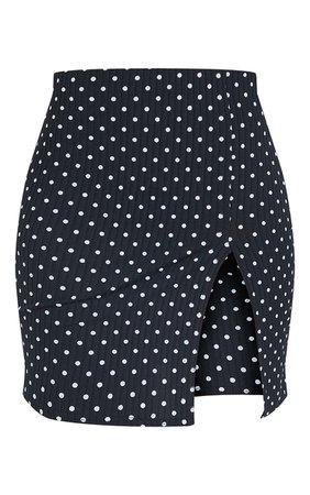 Black Polka Dot Split Front Mini Skirt | PrettyLittleThing USA