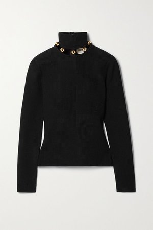 Black Embellished ribbed-knit turtleneck sweater | Alexander McQueen | NET-A-PORTER