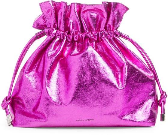 Metallic Leather Bucket Bag
