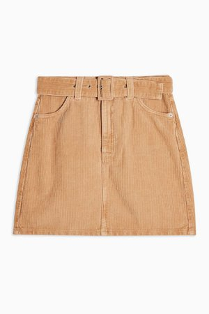 Sand Corduroy Belted Mini Skirt | Topshop