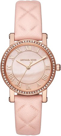Michael Kors Women's Stainless Steel Analog-Quartz Watch with Leather Calfskin Strap, Pink, 14 (Model: MK2683): Watches