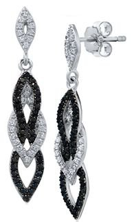Black and silver diamond earrings