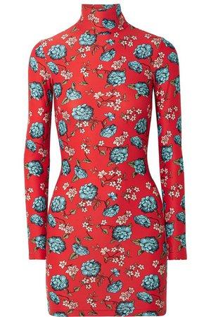 Vetements   Floral-print stretch-jersey turtleneck mini dress   NET-A-PORTER.COM