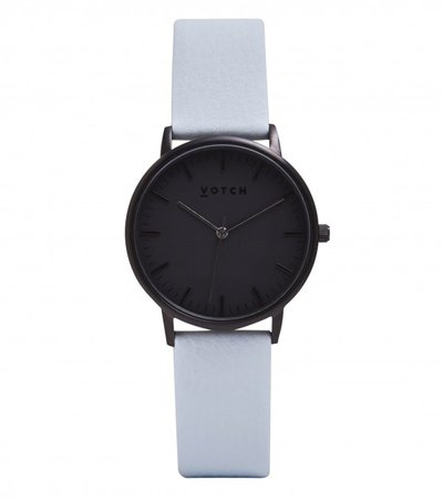 Vegan Leather Watch in Light Blue & Black - watches - Women