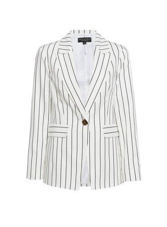 White Pinstriped Blazer Jacket | Dorothy Perkins
