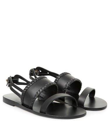 Valia Gabriel Black Mellon Leather Sandals < Beachwear Essentials | aesthet.com