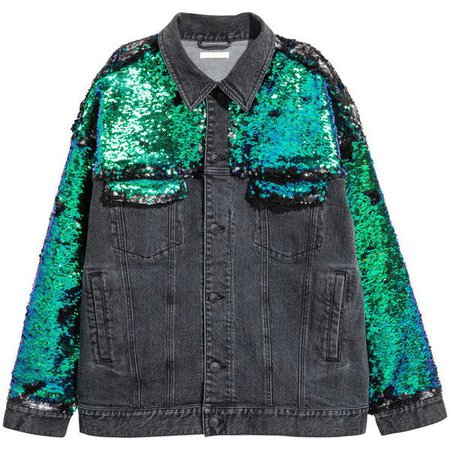 sequin denim jacket h&m - Google Search