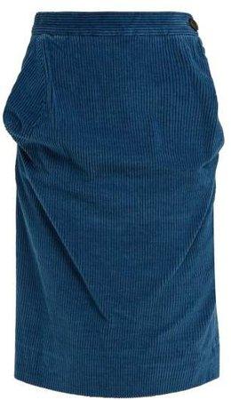 Twisted Corduroy Pencil Skirt - Womens - Blue