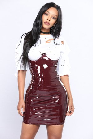 Lollipop Latex Skirt - Burgundy