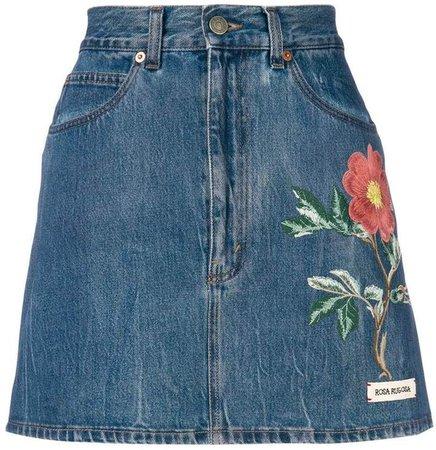 floral embroidery denim skirt