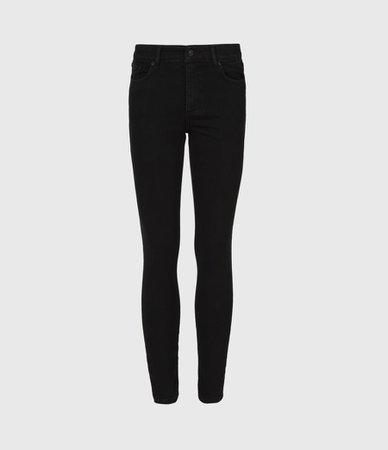 ALLSAINTS US: Womens Miller Mid-Rise Size Me Jeans, Black (black)