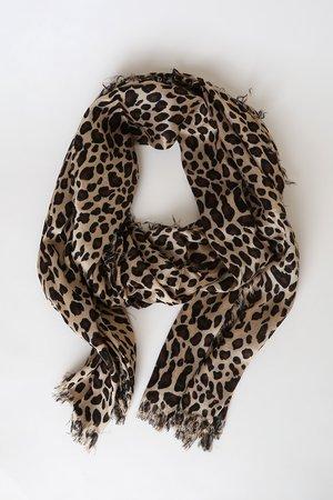 Leopard Print Scarf - Beige Print Scarf - Animal Print Scarf - Lulus