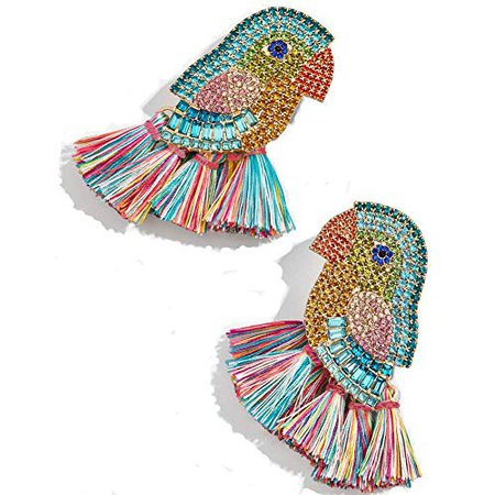 AmazonSmile: Animal Fruit Drop Earring - S925 Silver Rainbow Dangle Earring Crystal, Cute Statement Earring, Gift Idea for Women, Girl, Festival, Night Club (Colorful Parrot w/Tassel): Gateway
