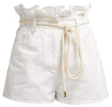 Paperbag Waist Denim Shorts - Womens - White