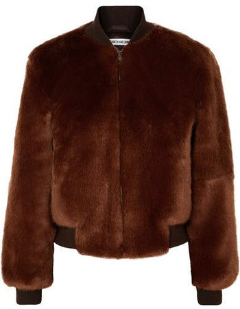 Ellington Knit-trimmed Faux Fur Bomber Jacket - Brown