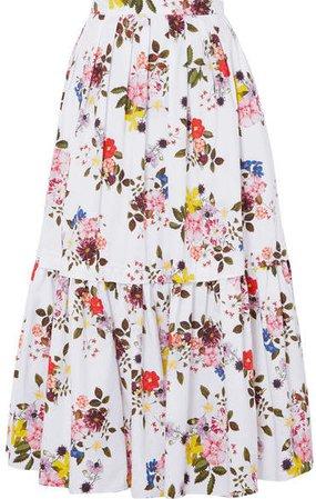 Leight Tiered Floral-print Cotton-poplin Maxi Skirt - White