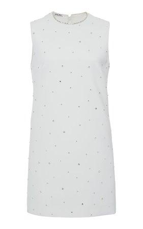 Miu Miu Crystal Embellished Mini Shift Dress