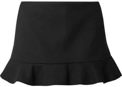 Ruffled Twill Shorts - Black