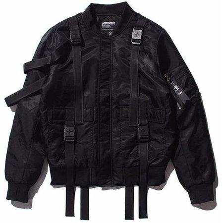 black cargo bomber jacket