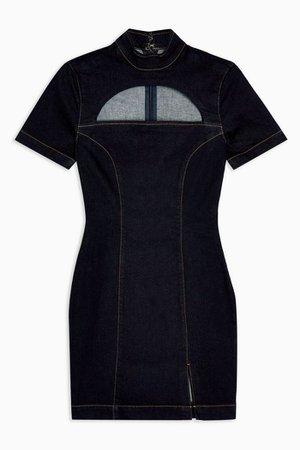 Indigo Denim Cutout Neck Bodycon Dress | Topshop