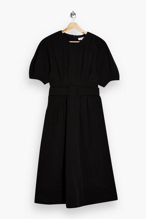 Washed Black Nylon Belted Midi Dress | Topshop