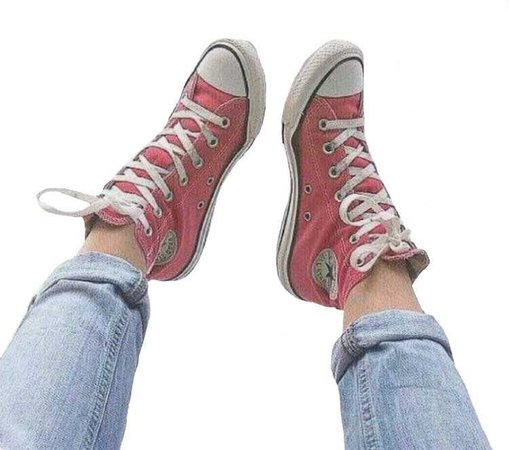 converse and jeans red