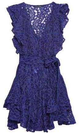 Corrine Belted Ruffled Corded Lace Mini Dress
