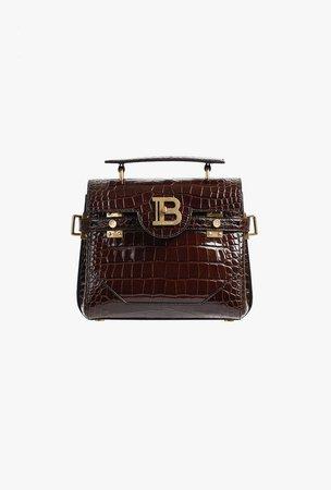 Dark Brown Crocodile Embossed Leather B Buzz 23 Belt Bag for Women - Balmain.com