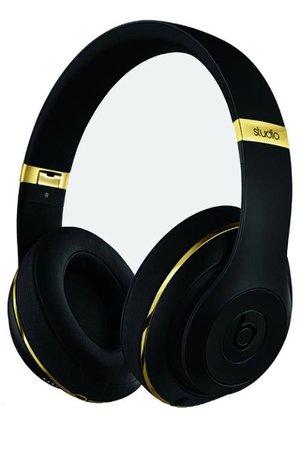 matte black gold detail wireless beats headphones